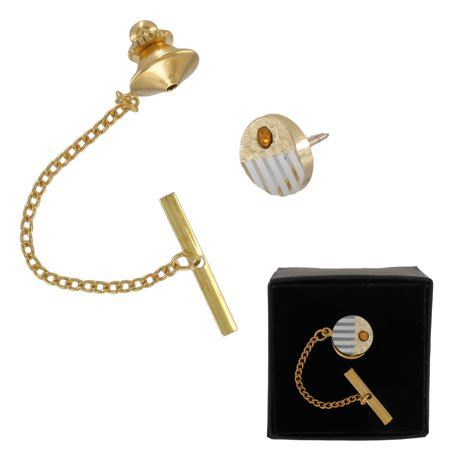 a38415fde535 Men's Two Tone Gold and Silver Tone Striped Topaz Colored Rhinestone Tie  Tack Pin Gift - Walmart.com