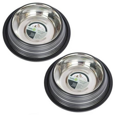 2-Pack Color Splash Stripe Non-Skid Pet Bowl, For Dog or Cat, Black, 16 Oz, 2 Cup ()
