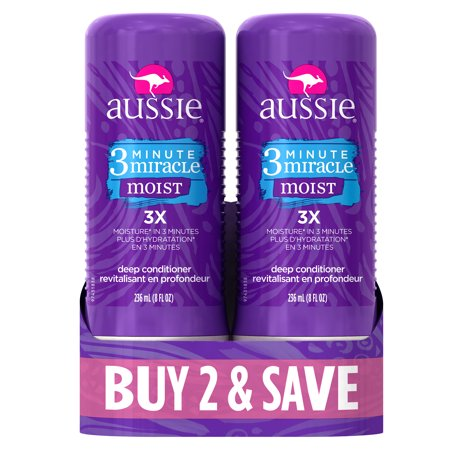 (Aussie 3 Minute Miracle Moist Deep Conditioning Treatment, 8 Fl Oz (Pack of 2))
