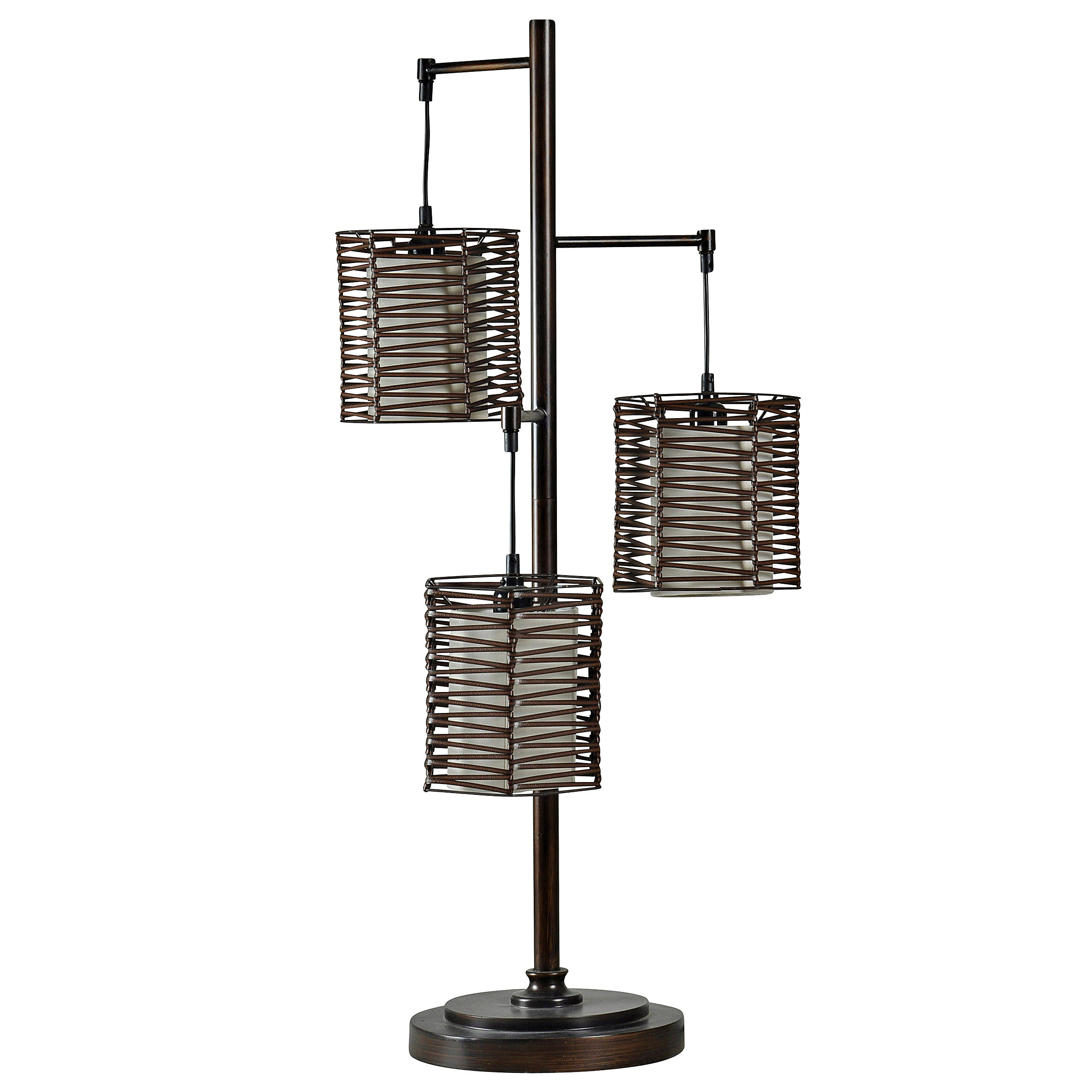 Contemporary Table Lamp Bronze Finish Brown Rattan Hardback