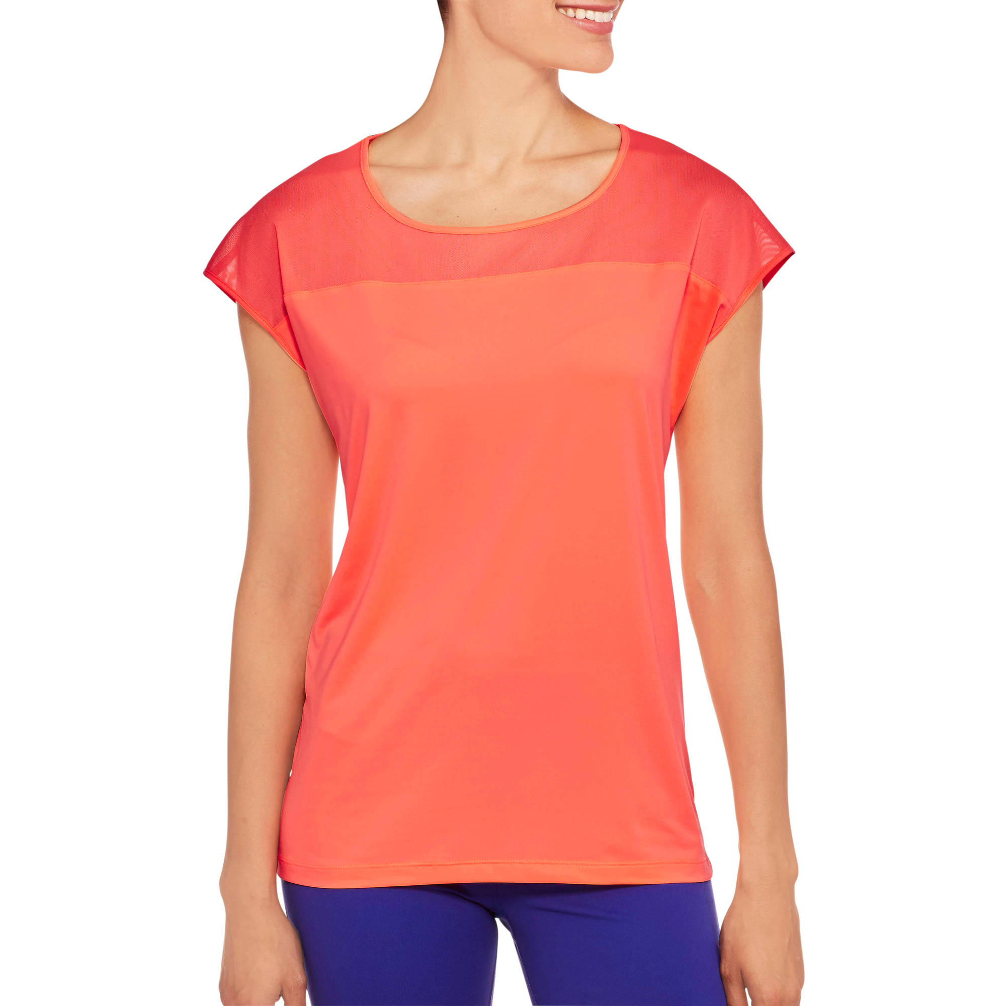 Danskin Now Women's Active Workout T-Shirt With Power Mesh Details
