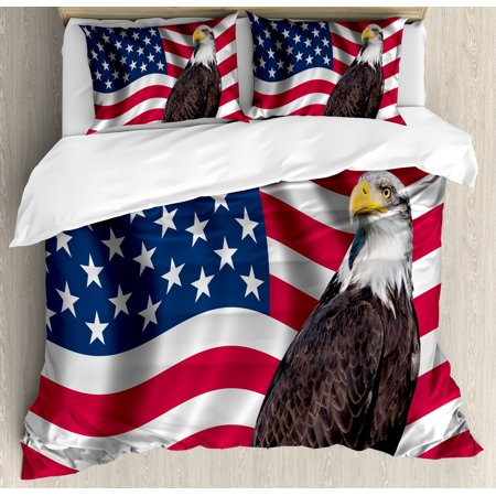 Eagle Queen Size Duvet Cover Set Patriotic Symbols Of The Land With An American Flag