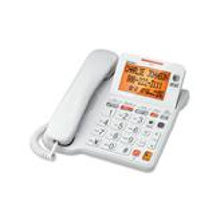 - AT&T CL4940 Corded Phone with Answering System, Backlit Display, Extra-Large Tilt Display/Buttons, Caller ID/Call Waiting and Audio Assist, White