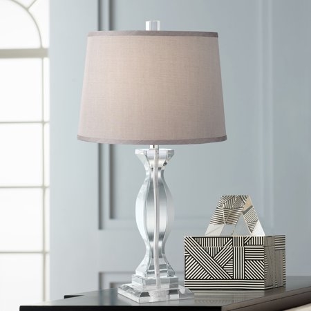 Vienna Full Spectrum Modern Table Lamp Crystal Base Gray Drum Shade for Living Room Family Bedroom Bedside Nightstand Office ()