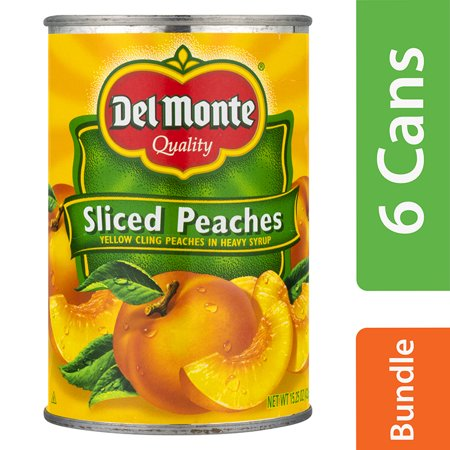 (6 Pack) Del Monte Sliced Yellow Cling Peaches, 15.25 oz