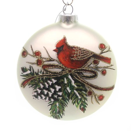 Holiday Ornaments CARDINAL DISK ORNAMENT Christmas Red Bird Pinecone 157317