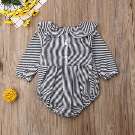 Baby Girl Cute Romper Black&White Stripe Long Sleeve Bodysuit Lotus Leaf Collar Sunsuit