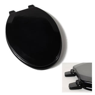 Black Elongated Wood Toilet Seat