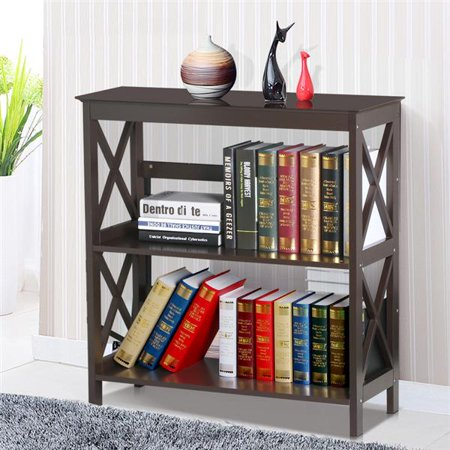 Three Tier Wood (Yaheetech 3 Tier Espresso Finish Wood Bookcase Bookshelf Display Rack Stand Storage Shelving Unit )
