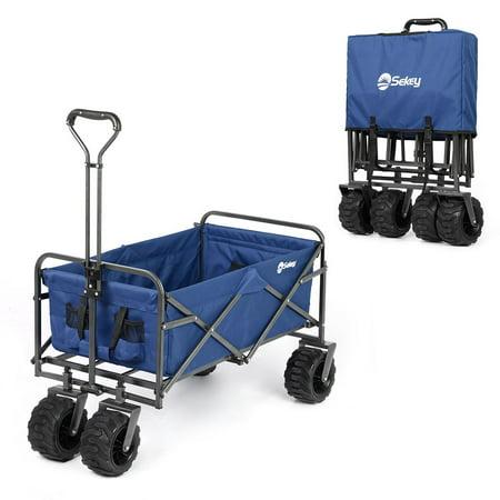 - Sekey Folding Wagon Cart Collapsible Outdoor Utility Wagon Heavy Duty Beach Wagon with All-Terrain Wheels, 265 Pound Capacity, Blue