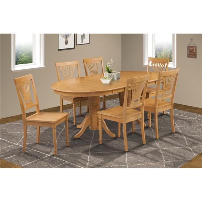 M&D Furniture SOME7-OAK-W 7 Piece dining room set table with a butterfly leaf and 6 dining chairs in Oak finish