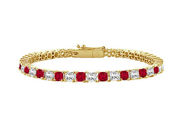 Created Ruby and Cubic Zirconia Tennis Bracelet with 4.00 CT TGW on Yellow Gold Vermeil by Love Bright