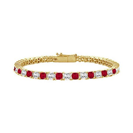 Created Ruby and Cubic Zirconia Tennis Bracelet with 4.00 CT TGW on Yellow Gold Vermeil