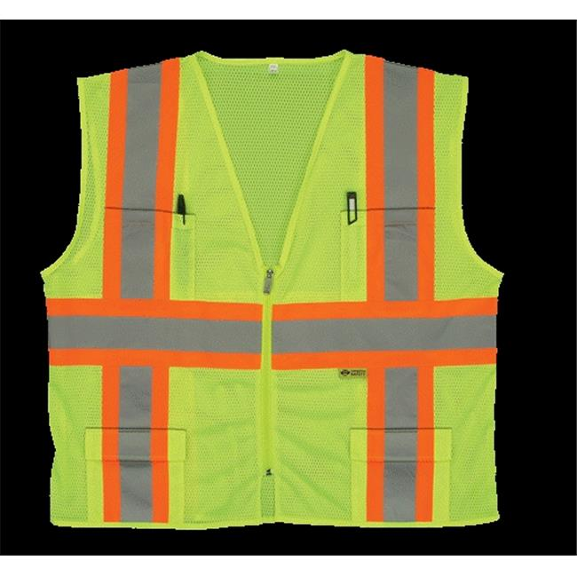 2W M7048C-2 XL Class 2 Mesh Multi-Pocket Vest - Lime, Extra Large