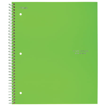 Five Star Trend Wirebound Notebook, 5 Subject, College Ruled, Assorted Colors (Polypropylene Twin Wire Notebook)