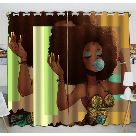 GCKG African Woman Blackout Curtains Window treatment Panel Drapes 52(W) x 84(H) inches (Two Piece)