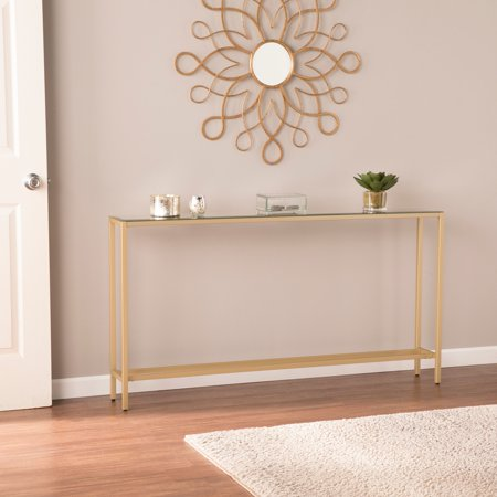 Derkkin Narrow Long Console Table w/ Mirrored Top, Gold Gold Marble Top Console Table