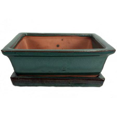 "Ceramic 6"" Bonsai Pot/Saucer - Forest Green Rectangle"