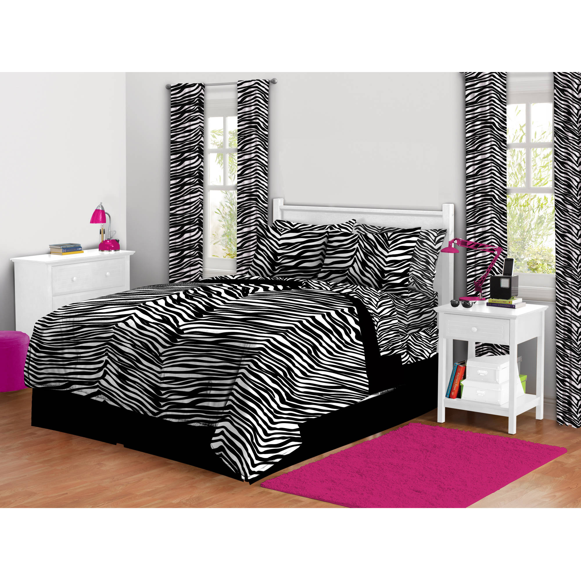 Zebra Animal Print Queen Size 7 Piece Bed In A Bag Bedding