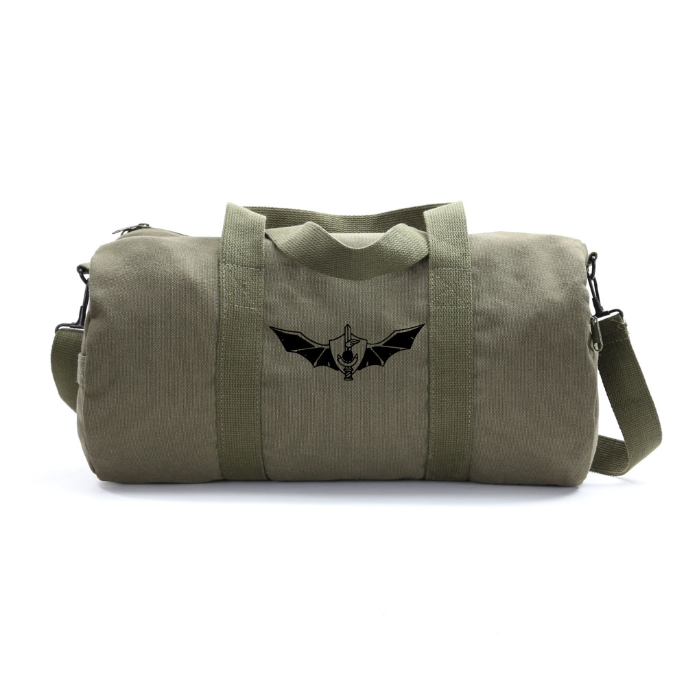 Army Heavyweight Canvas Duffel Bag Punisher Skull in Ring Medium Olive /& White