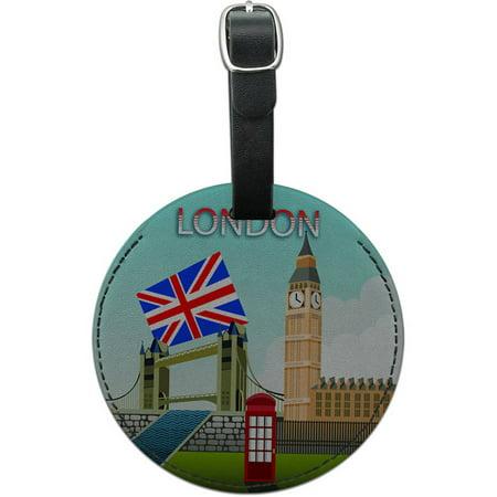 London England Uk Big Ben Bridge Round Leather Luggage Id Tag Suitcase Carry On