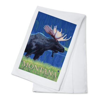 Montana, Last Best Place - Moose at Night - Lantern Press Artwork (100% Cotton Kitchen Towel)