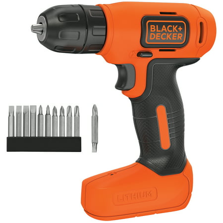 BLACK+DECKER 8-Volt Lithium Cordless Drill With Bonus Drill Bits, (Best Cordless Drill For Home Use)