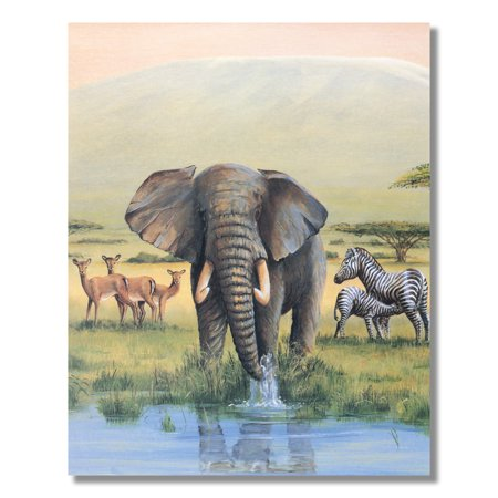 Elephant in Water Mother Zebra Feeds Baby African Wall Picture 8x10 Art - Zebra Print Picture