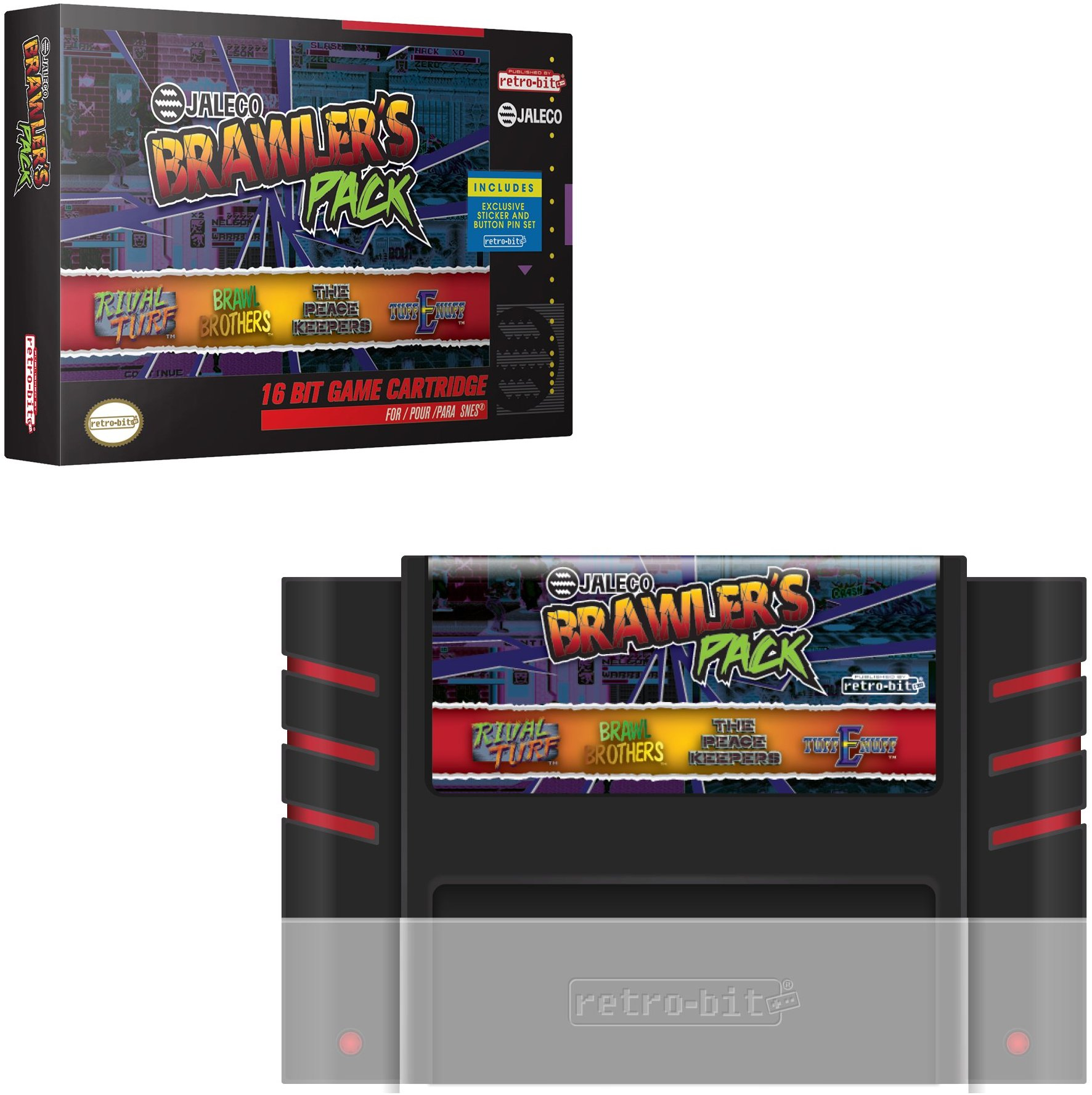 Retro-Bit Jaleco Brawler's Pack SNES Cartridge: Brawl Brothers, The Peace Keepers, Rival Turf, & Tuff E Nuff Officially Licensed by Jaleco