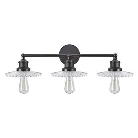 """Aspen Creative 62107, Three-Light Metal Bathroom Vanity Wall Light Fixture, 38"""" Wide, Transitional Design in Oil Rubbed Bronze with Clear Glass Shade"""