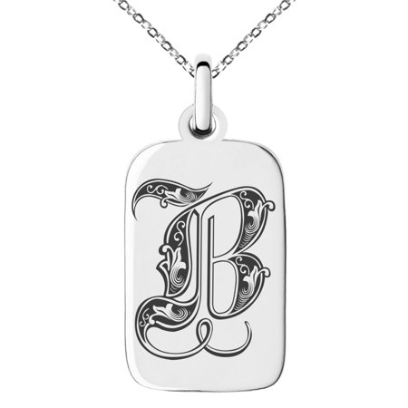 Stainless Steel Letter B Initial Royal Monogram Engraved Small Rectangle Dog Tag Charm Pendant (Initial Tag)