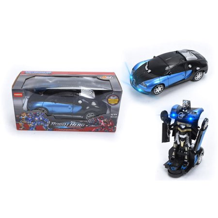 Transformers Robot Car Toy with Lights and Sounds for Kids Boys and Girl, 360°Rotating with One-Button Deformation Function ,Ages 3-7