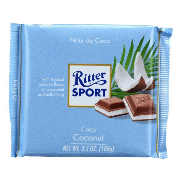 Ritter Sport Chocolate Bar - Milk Chocolate - Coconut - 3.5 Oz Bars - pack of 12