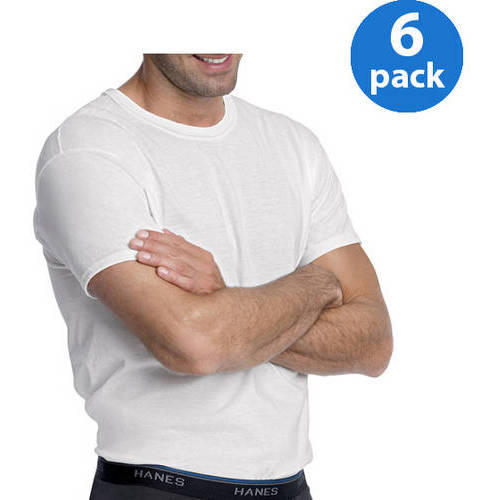 Hanes Men's FreshIQ ComfortSoft White Crew Neck T-Shirt 6-Pack