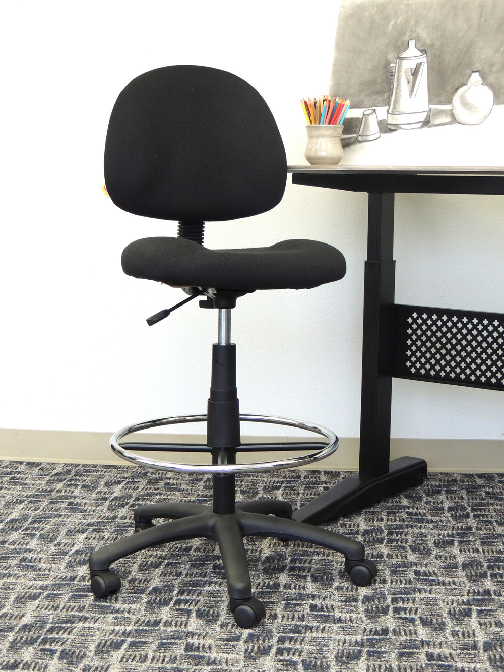 Boss Office Products Black Contoured Comfort Adjustable Rolling Drafting Stool Chair  sc 1 st  Walmart & Boss Office Products Black Contoured Comfort Adjustable Rolling ... islam-shia.org
