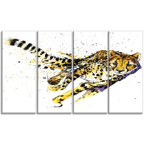 Design Art Cheetah Illustration Animal 4 Piece Graphic Art on Wrapped Canvas Set