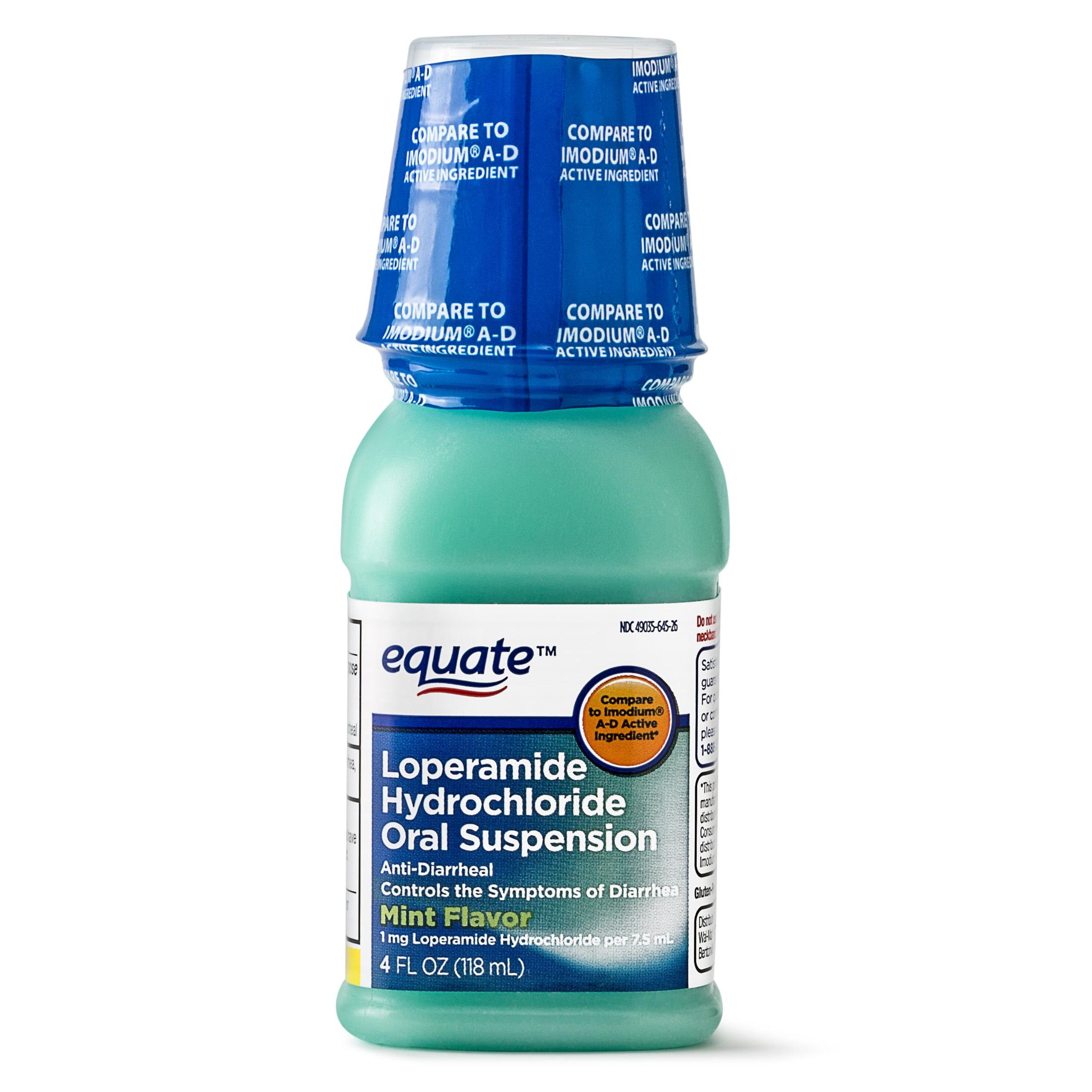 Equate Anti-Diarrheal Loperamide Hydrochloride Mint Suspension, 1 mg, 4 Oz
