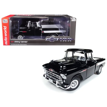 1957 Chevrolet Cameo 3124 Pickup Truck Black 100th Anniversary Limited Edition to 1002 pcs 1/18 Diecast Car by Autoworld