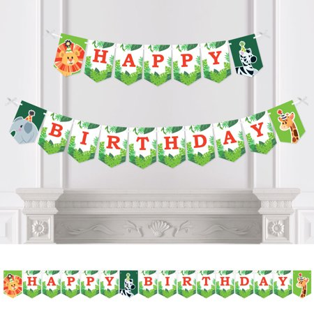 Jungle Party Animals - Safari Zoo Animal Birthday Party Bunting Banner - Birthday Party Decorations - Happy Birthday