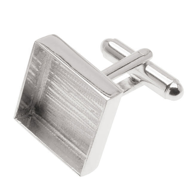 Amate Studios Silver Plated Cuff Links Customizable Square Bezel 17.5mm (1 Pair)