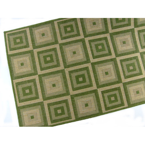 American Mills Pyramid Blocks Emerald Indoor/Outdoor Area Rug