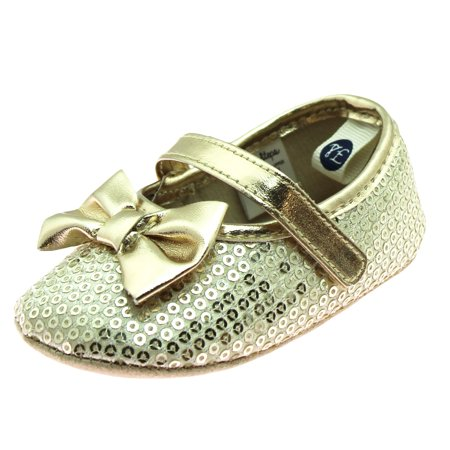 83c2b3403081 Stepping Stones - First Steps Baby Girls Shiny Sequin Mary Jane Special  Occasion Holiday Dress or Party Shoes Soft Sole Newborn Prewalkers Gold  Size 4 (9-12 ...