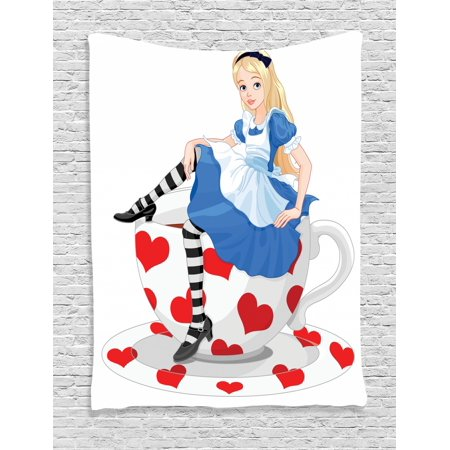Alice in Wonderland Tapestry, Alice Sitting on a Tea Cup with Heart Shape Character Fantasy Tale, Wall Hanging for Bedroom Living Room Dorm Decor, Multicolor, by Ambesonne - Alice In Wonderland Decor
