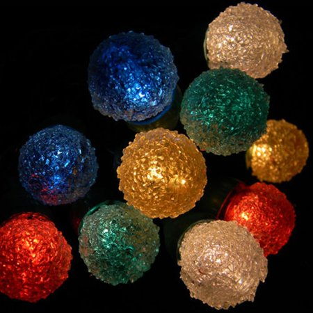 Party Lights String Lights 35 Sugar Coated Mini Globe Bulbs Green Wire  Multicolor - Party Lights String Lights 35 Sugar Coated Mini Globe Bulbs Green