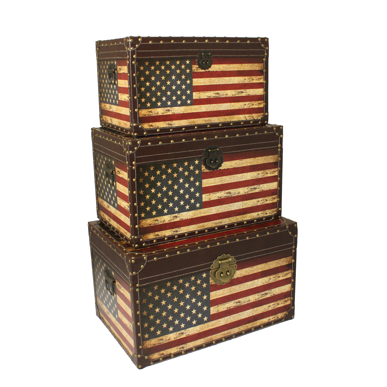 Casa Cortes Antique American Flag Decorative Trunk Cases ...