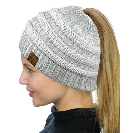 7c15104df9a4b C.C BeanieTail Soft Stretch Cable Knit Messy High Bun Ponytail Beanie Hat