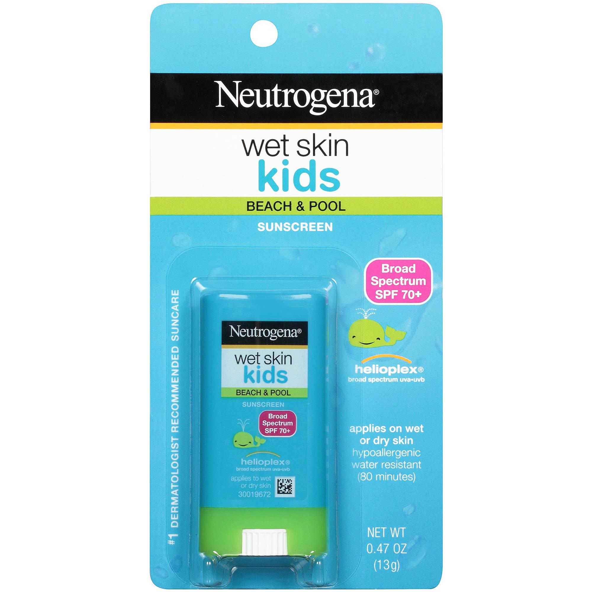 Neutrogena Wet Skin Kids Stick Sunscreen Broad Spectrum SPF 70, 0.47 oz