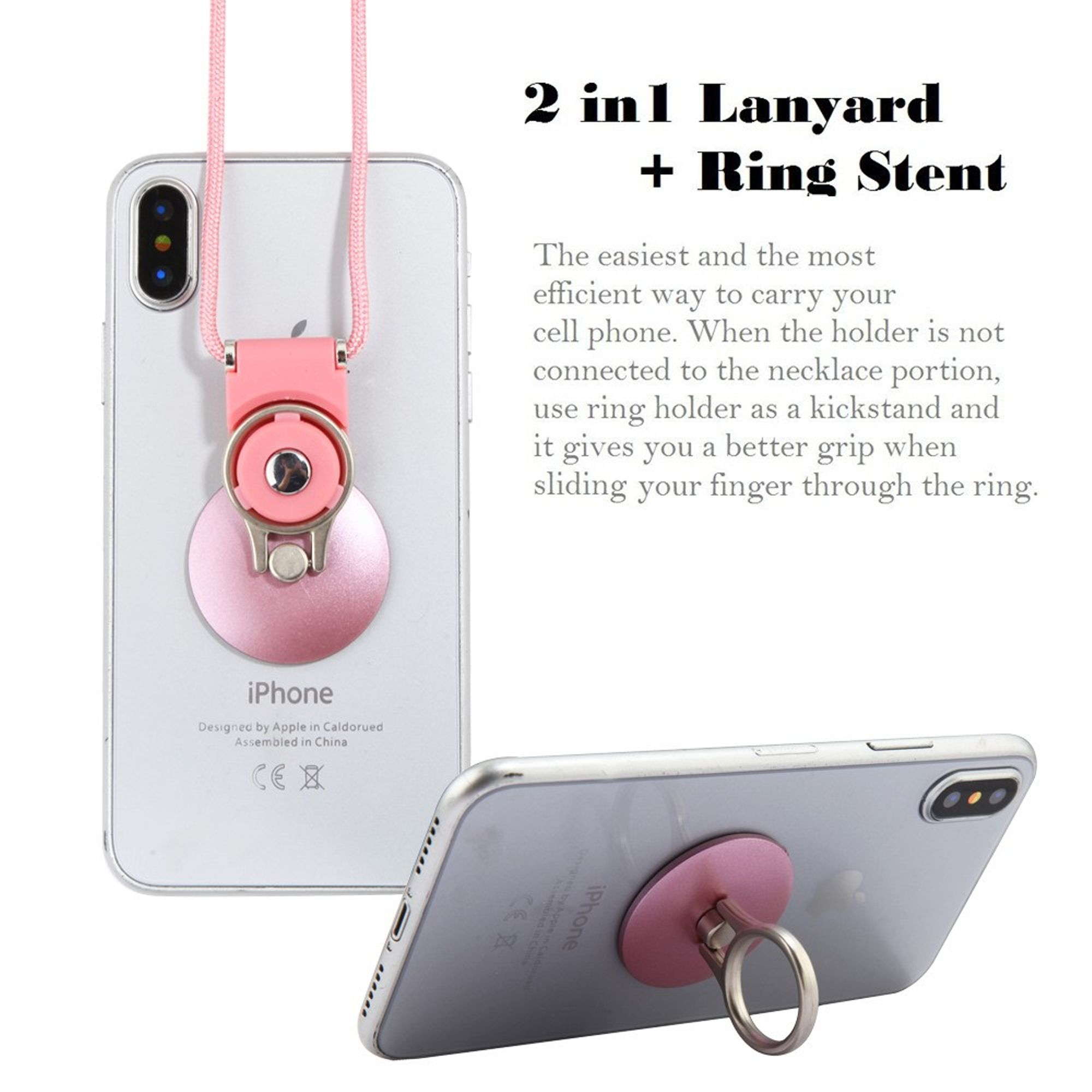 Insten Universal Circle Finger Grip Rotating Ring Stand Holder for Mobile Phones iPhones Tablets iPads With Rose Gold Lanyard - Rose Gold