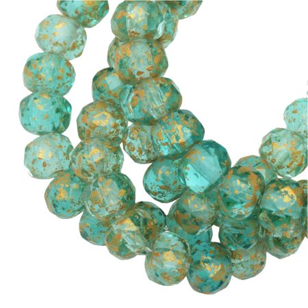 Czech Glass Beads, Faceted Rondelle 3mm, Aqua Green Transparent with Antique Gold Finish, 1 Strand, by Raven's Journey