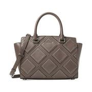 michael michael kors womens selma leather grommet satchel handbag gray medium